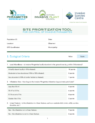 Phragmites Site Prioritization Tool